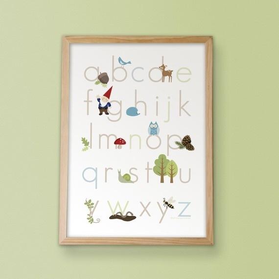 woodland alphabet print from inktreepress etsy shop