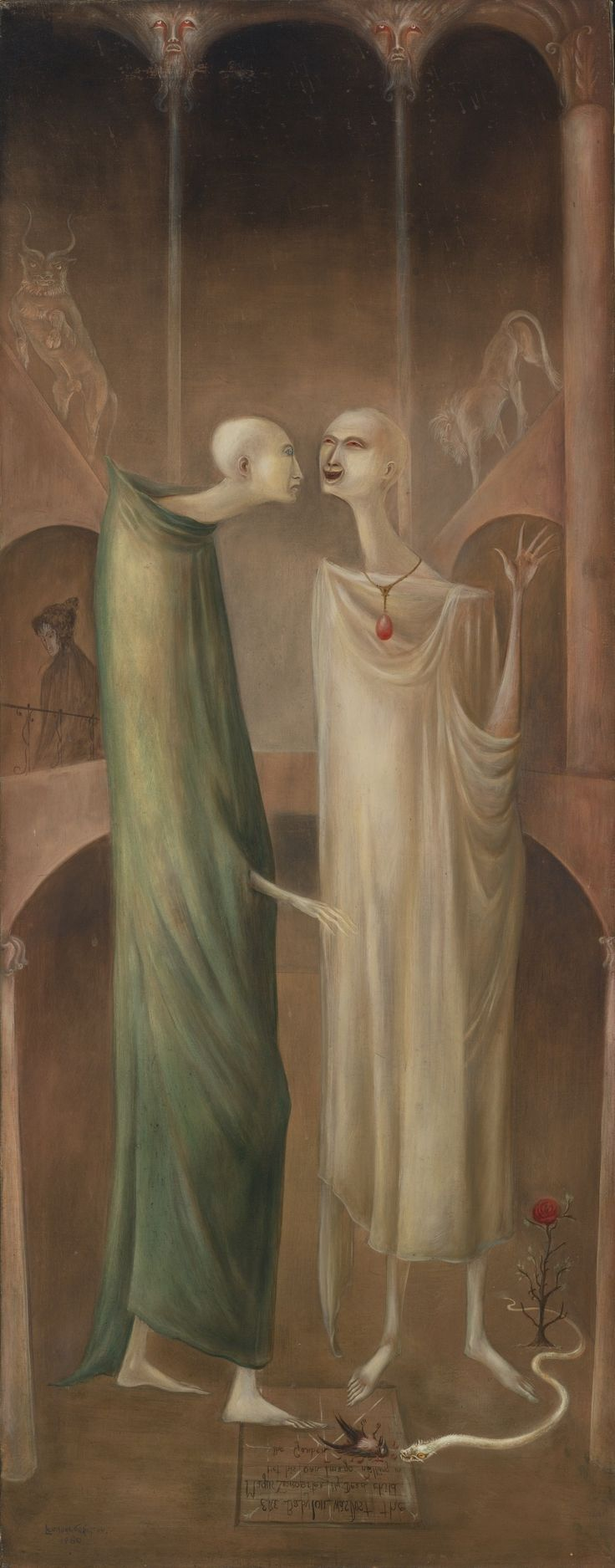 39 LEONORA CARRINGTON (1917-2011) THE MAGUS ZOROASTER MEETING HIS OWN IMAGE IN THE GARDEN (BROTHERS IN BABYLONE) signed and dated 1960 lower...