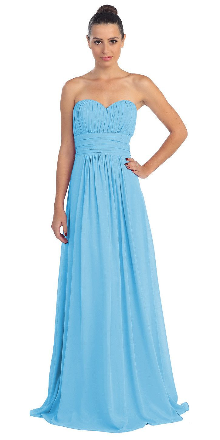 CLEARANCE - Turquoise Bridesmaid Dress A Line Long Chiffon Sweetheart