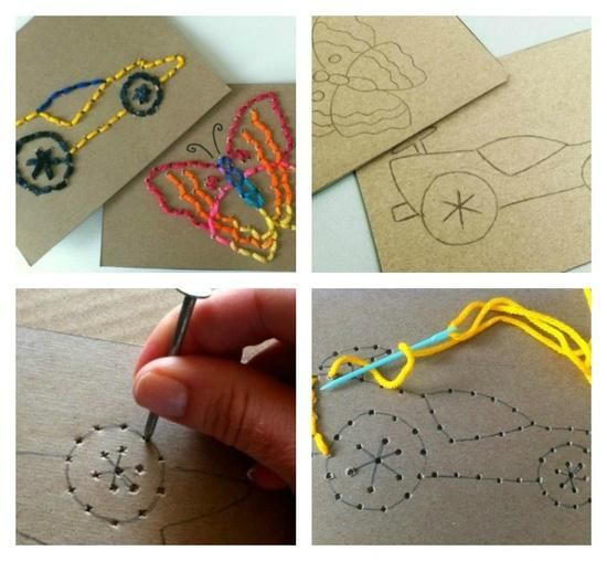 Sewing for Kids - Easy Stitch Cards: Practice fine motor skills...what a fun discovery center!