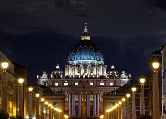 Saint Peter S Basilica Lights Rome Italy Vatican City The Vatican Church Night Twilight Tra St Peters Basilica Rome Italy Vatican Basilica