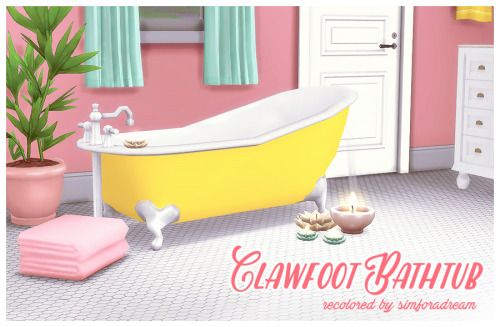 Base game Clawfoot bathtub recolorThis is a recolor of the base game clawfoot bathtub in a mix of Eversims Ever So Lovely and Ever So Vibrant palettes. • 23 swatches • one small slot on each side of the tub • costs 1015 I've made custom thumbnails...