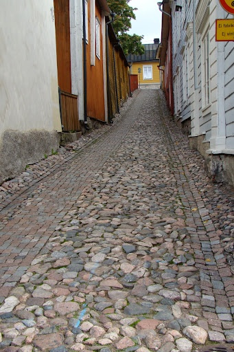 "Porvoo, Finland.The town is famed for its ""Old Town"",a dense medieval street pattern with predominantly wooden houses.The Old Town came close to being demolished in the 19th century by a new urban plan for the city.The plan was cancelled due to a popular resistance headed by Count Louis Sparre."