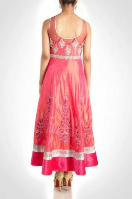 Pink Anarkali With Zardosi Work