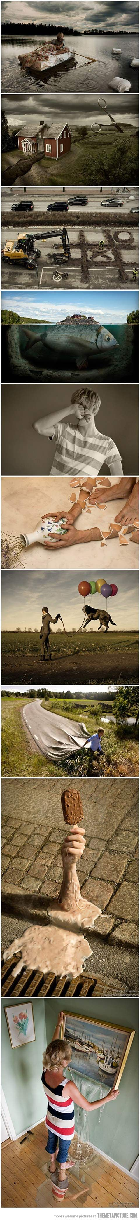 Love this artist..........Erik Johansson.  Awesome computer art examples