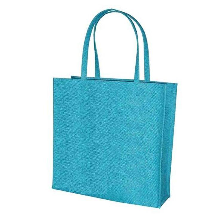 Blue Colour Kanvas Jute Shopper Bag with Thin Straps