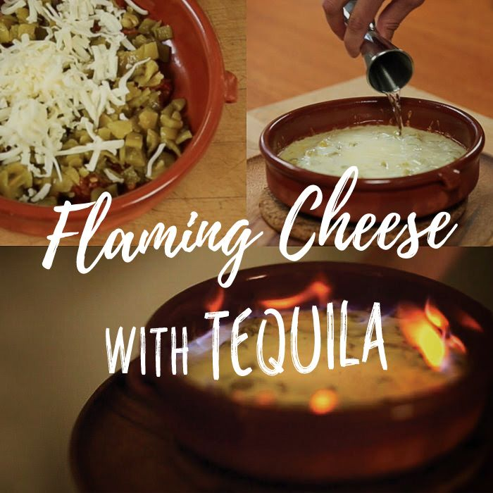 Queso Flameado: Cheese, tequila, and chorizo come together in the best possible way in this perfect Big Game snack. A layer of cooked chorizo provides the snack's foundation, green chiles bring the heat, and a generous blanket of melted cheese does what only melted cheese can do. The final step that takes this dip from good to great is the addition of a couple shots of tequila, poured over the molten queso. Just before serving, you set fire to the tequila (that's the flameado part).