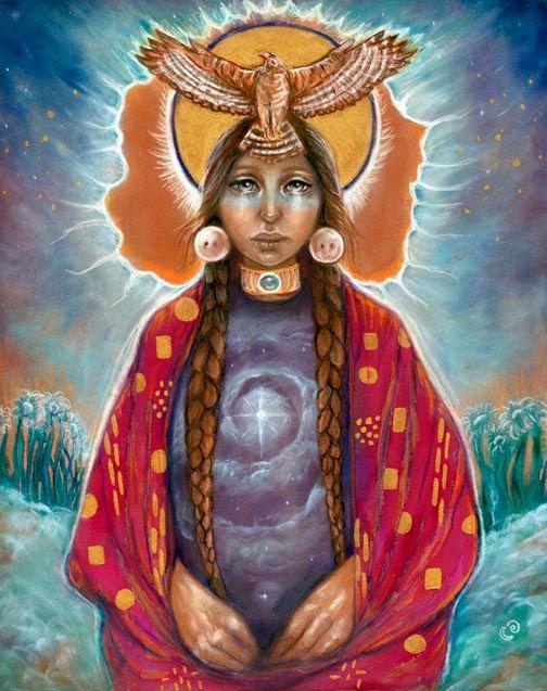 11 x 14 fine art afdrukken creatie sjamaan geneeskunde vrouw hawk Indiaanse spirituele