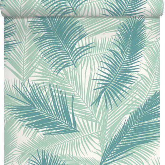 Papier peint Feuille de palme, vert