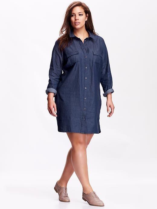 44 Plus Size Chambray Shirt Dress