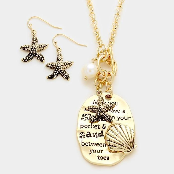 """""""May You Always Have a Shell"""" Starfish Charm Gold Plated Long Pendant Necklace"""