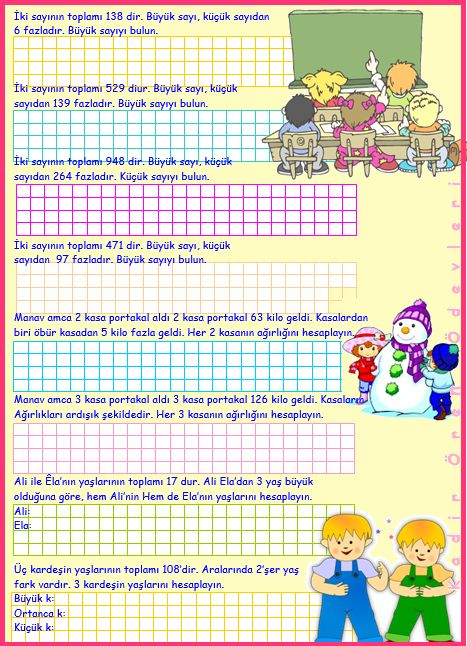 ilkokul ödevleri: 3. sınıf sayı problemleri