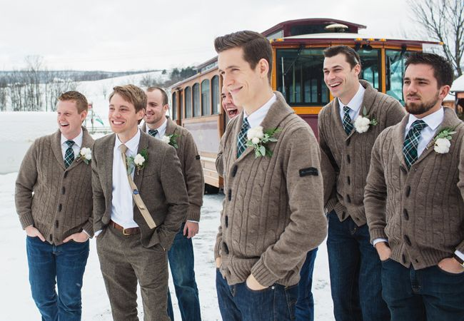 Casual Groom & Groomsmen Attire // Lauren Fair photography // http://blog.theknot.com/2013/12/16/a-cozy-and-glitzy-winter-wedding/