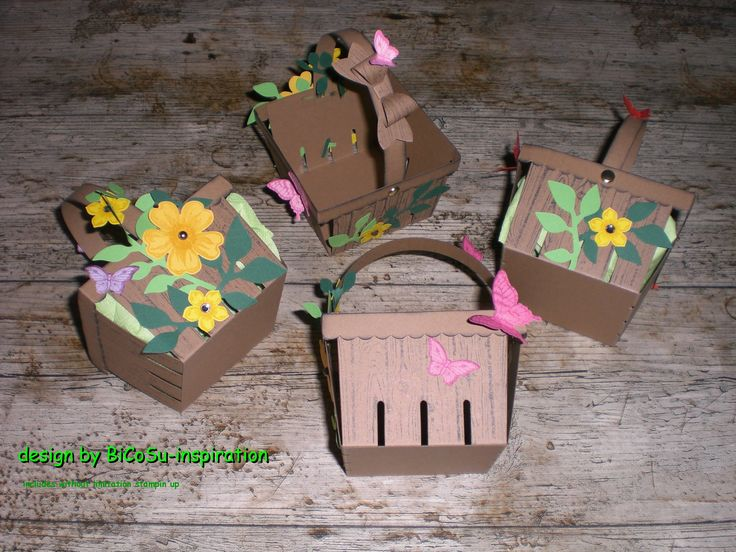 Geschenkkörbchen - Korb - Osterkorb - Basket - Happy Easter Basket - Stampin up - Butterfly Punch, Flower Punch usw.