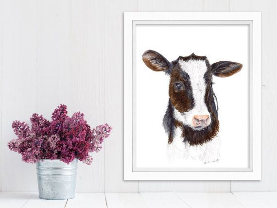 Cow Print Farm Animal Nursery Baby Farm Animal by TinyToesDesign