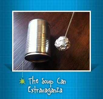 Rube Goldberg soup can trick