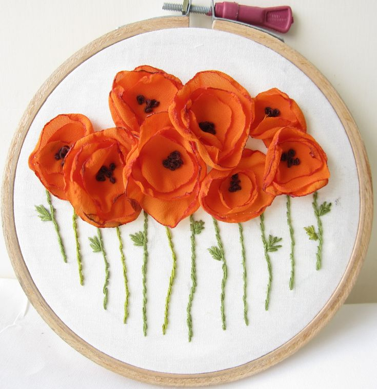 Orange Poppies Hand Embroidered Wall Decoration