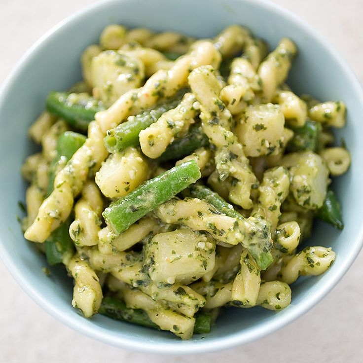 Pasta with Pesto, Potatoes, and Green Beans - Cook's Illustrated (modified using brown rice or quinoa pasta, & sans garlic)