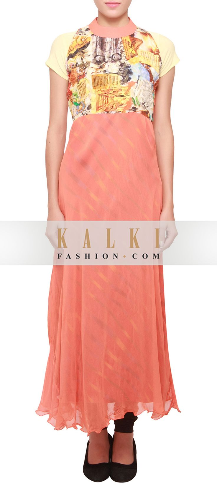 Buy Online from the link below. We ship worldwide (Free Shipping over US$100) http://www.kalkifashion.com/dusty-orange-kurti-embellished-in-alphabet-print-only-on-kalki.html