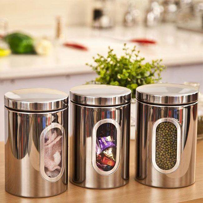 Три кухонные банки из нержавейки с крышками и окошками #БАНКИ #КОРОБКИ #ХРАНЕНИЕ #КУХНЯ