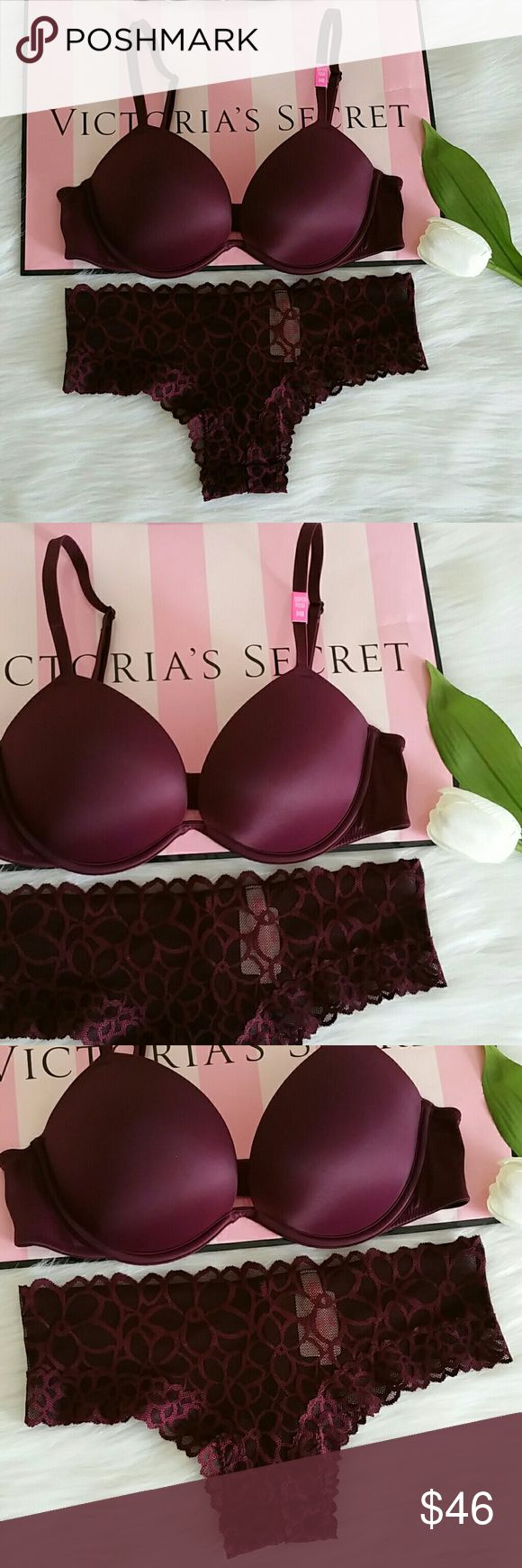 NWT NEVER WORN PINK VS SUPER PUSH UP BRA+PANTY. Beautiful pink victoria secret  brand new Super push up bra +panty  Bra size 34B Panty size S  Smoke and pet free home.  Fast shipping + extra gift.  Panty size M available. PINK Victoria's Secret Intimates & Sleepwear Bras