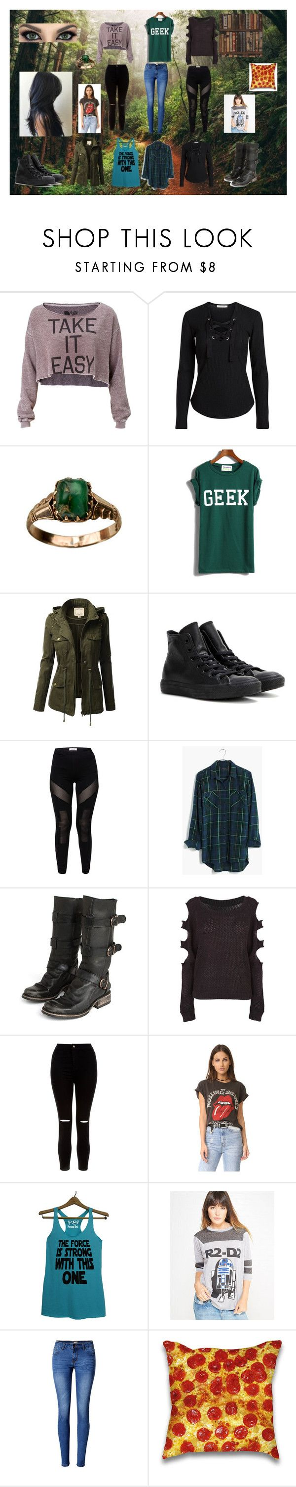 """""""'Vannah 2"""" by shaina-elise-hamby ❤ liked on Polyvore featuring GURU, Rebel Yell, J.TOMSON, Converse, Madewell, Steve Madden, New Look, MadeWorn, Freeze and WithChic"""