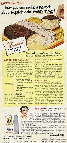 "Gold Medal Flour - Betty Crocker ""As-You-Like-It"" Cake Recipe (1949). #vintage #1940s #food #ads"