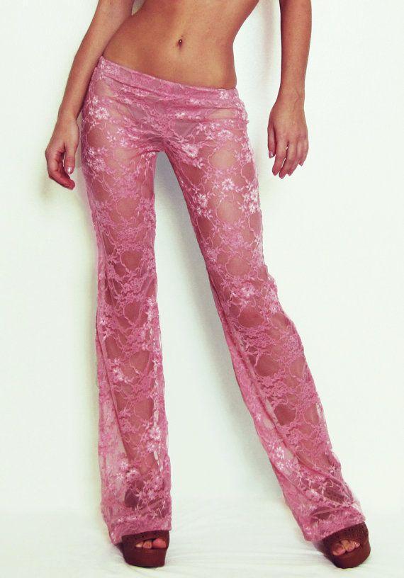 Custom Rose Lace Pants/ Boho Pants/ Festival Pants/ Gypsy Pants/ Burning Man Pants/ Beach Cover-Up P