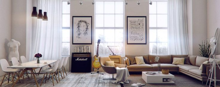 Alluring Urban Living Room Ideas Design with White Curtain and Artistic Picture Frame Wall Ornament also Square White Coffee Table and L Shaped Tan Sofa | NYSAAN.COM