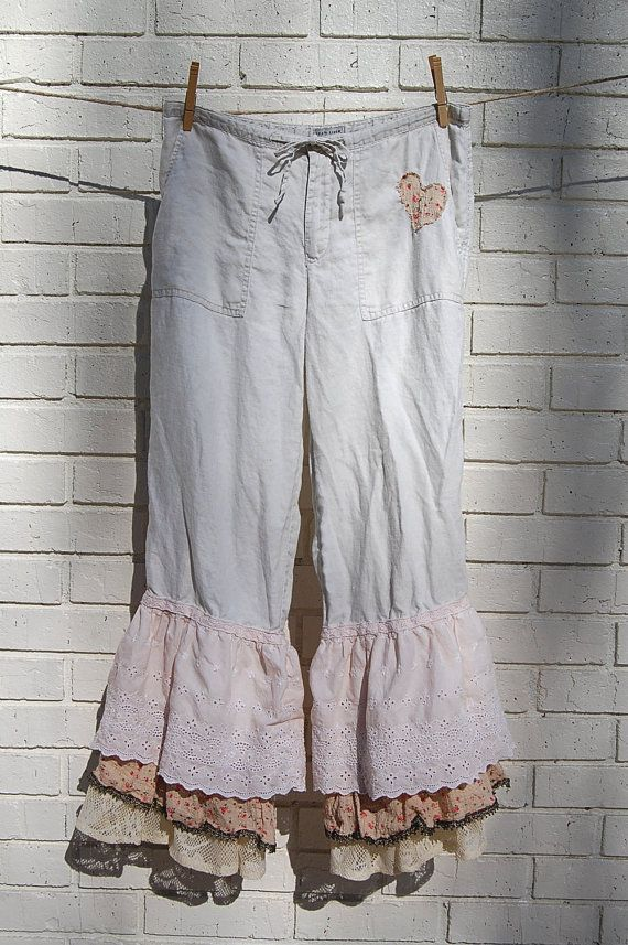 Boho Linen Pants Bloomers Pantaloon by GallimaufryClothing on Etsy, $58.00