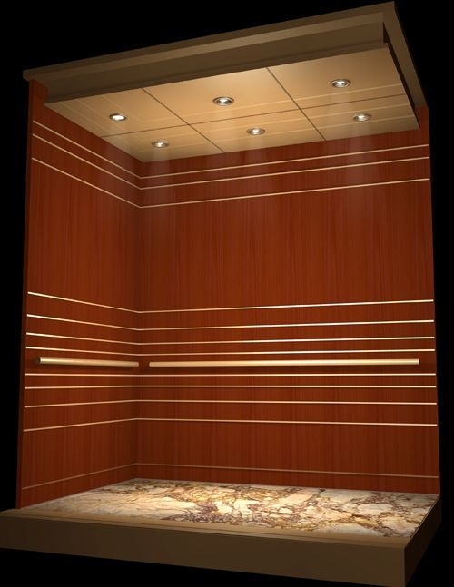 Wood Walls Granite Flooring Elevator Cab Design