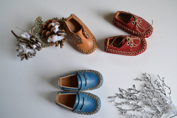 handmade curried leather mini shoes