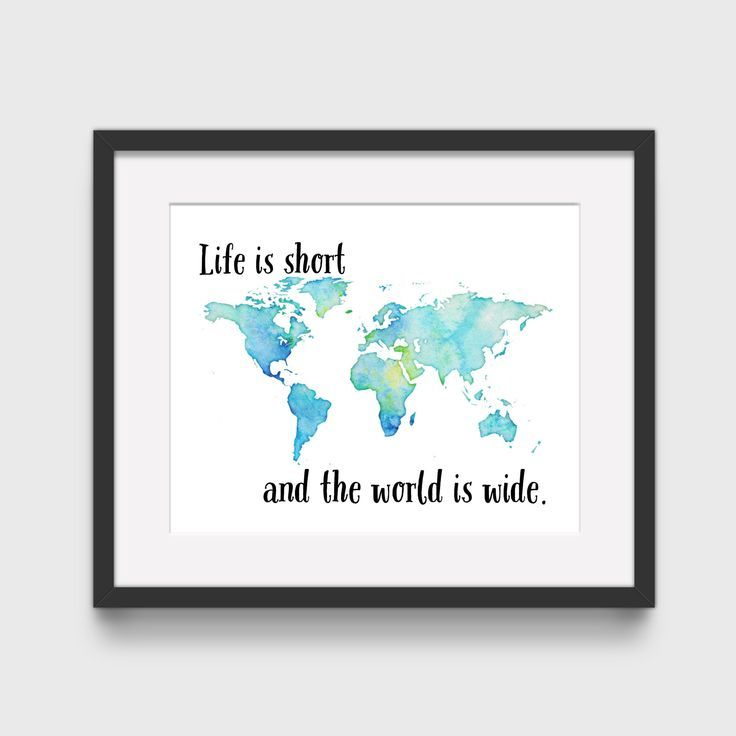 Life Is Short And The World Is Wide Wanderlust Modern Art Print Travel Gift