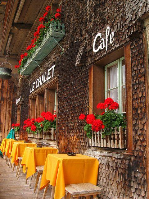 Colourful Café in Gruyères, France