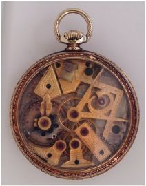 14K Dudley Masonic pocket watch * click for link or to request pricing #santabarbarajewelry #dudley #masonic #pocketwatch