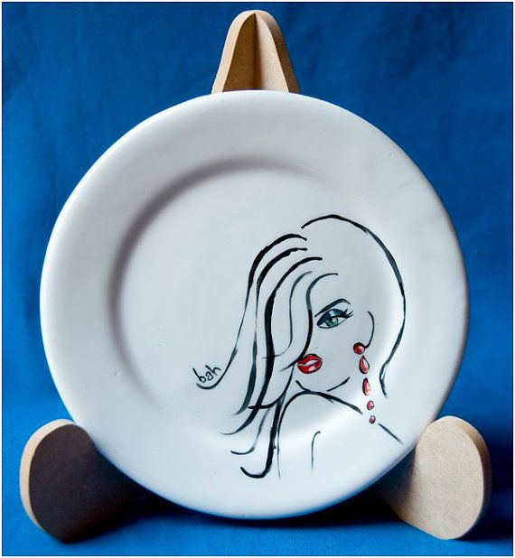 Ceramic side plate,Snooty snobby Lady, long hair, blue eye shadow, green eyes, red ear ring, white background, hand made & painted, ooak