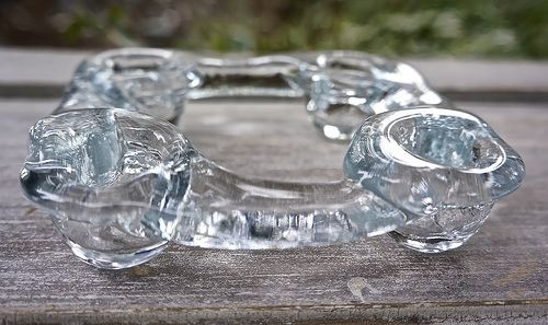 Vintage Pukeberg Swedish Ice Glass Ring Candle Holder