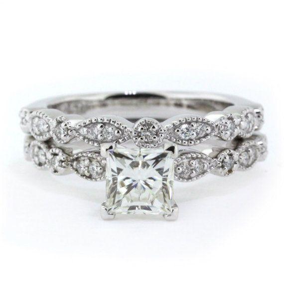 Princess Cut Vintage Wedding Set Moissanite with Diamonds in