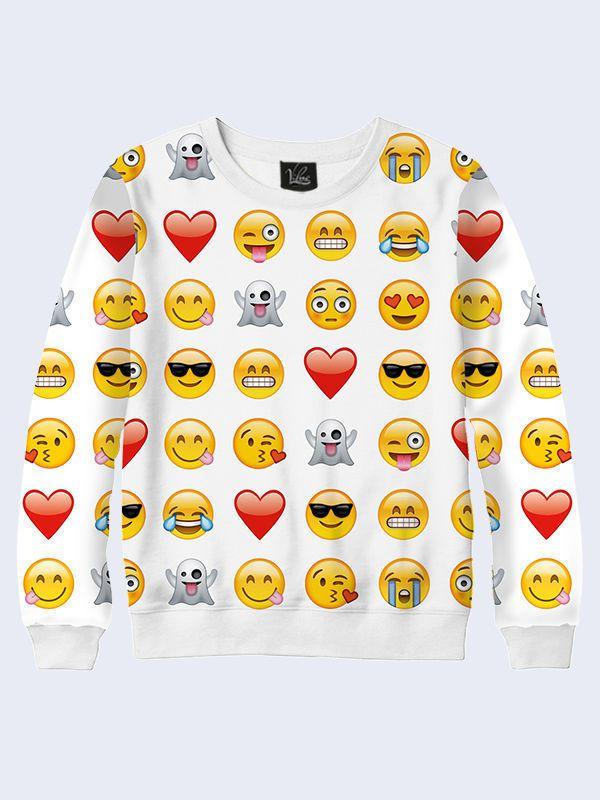 Girls Emoji Sweatshirt New Kids Emoticons Smiley Face 3D Fashion Long Sleeves #TMVilno #BasicTee