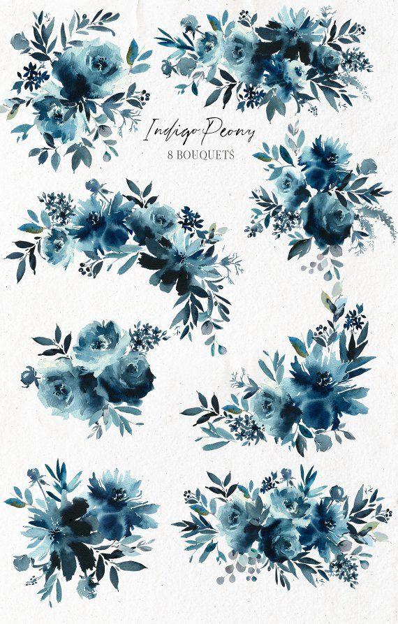 Indigo Peony Navy Blue Rose Bouquets Watercolor Floral Clipart Etsy In 2021 Blue Rose Bouquet Floral Watercolor Watercolor Flowers