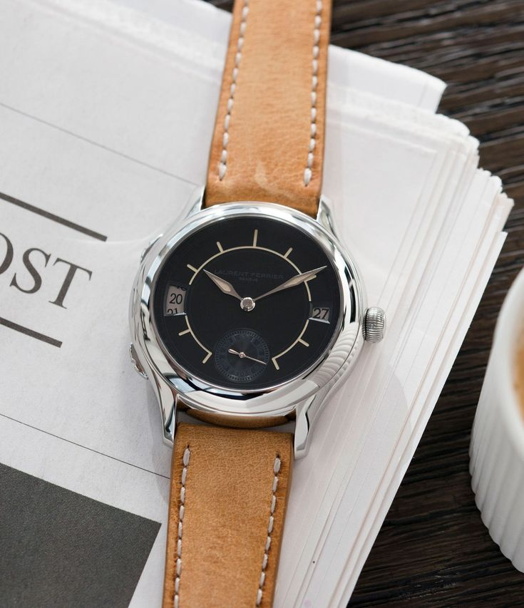 Laurent Ferrier Galet Traveller Boreal steel dual-timezone black dial dress watch at A Collected Man London