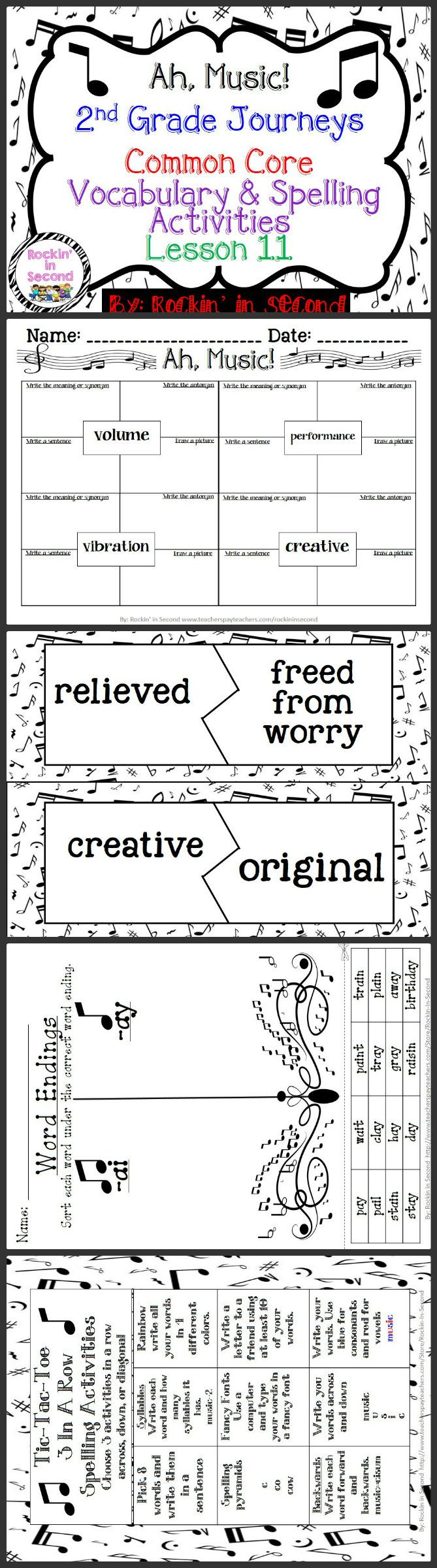Ah! Music: Unit 3.2 Lesson 12 Spelling & Vocabulary Activities  In this bundle you will receive Vocabulary Puzzles, Vocabulary 4 square sheets, Spelling lists for student's agendas, Tic-Tac-Toe spelling activity, Word Sort, and Rainbow Write spelling paper.  These all are aligned with Common Core and goes along with Journeys.  Please leave feedback and follow me on TPT for more fun and exciting activities.