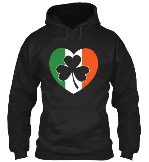 I Love Irish Flag Black Sweatshirt Front