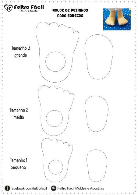 Feltro Fácil Moldes e Apostilas: Molde para Pezinhos de Bonecos em Feltro