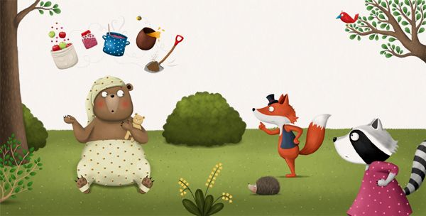 Hrkalo / Snorybear, picture book by Jelena Brezovec, via Behance
