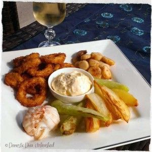Seafood and Chips with Garlic Mayonnaise