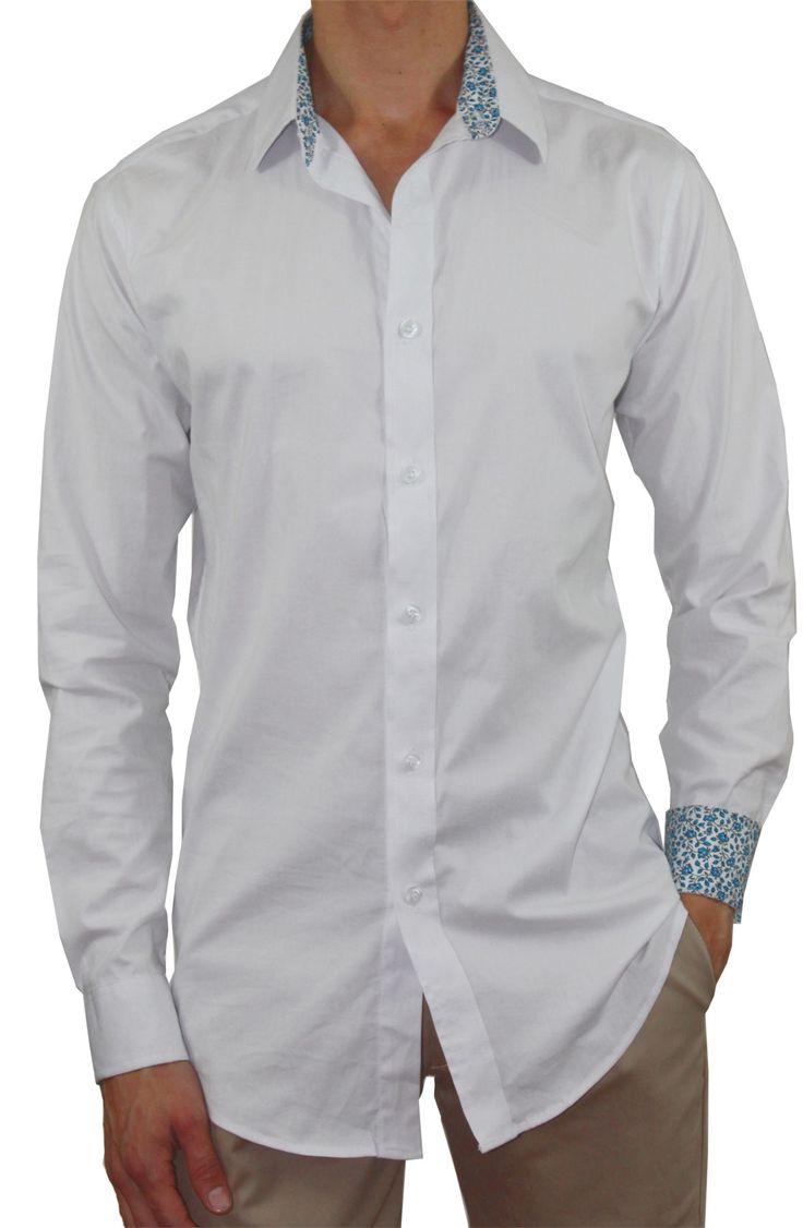 Camisa Casual Ultra Slim Elástica Bernard Blanco
