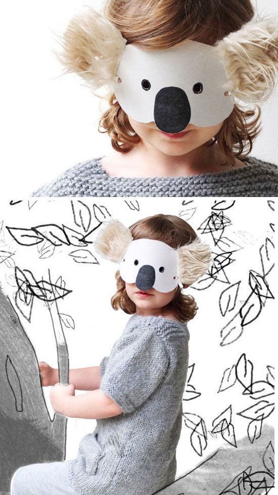 Koala Mask with Template | Click for 30 DIY Halloween Costumes for Kids to Make | DIY Halloween Costumes for Toddlers