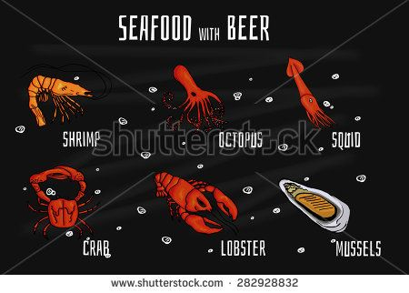 Collection of colorful mouthwatering seafood snacks for beer. Vector illustration on blackboard with chalk - stock vector