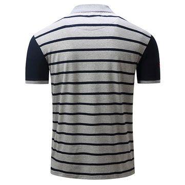 Spring Summer Men's Turn-down Collar POLO Shirt Casual Business Striped T-shirt at Banggood